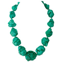 "20th Century Monumental Turquoise ""Nugget"" Choker Necklace"