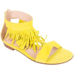 Gianvito Rossi Neon Yellow Suede T-Strap Fringe Sandals