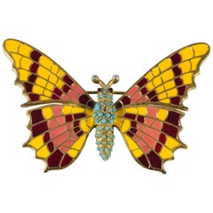 1970s Ciner Butterfly Brooch with Yellow and Pink Wings