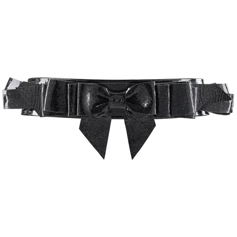 CHANEL S/S 2008 Black Patent Glitter Leather Layered Bow Waist Belt For Sale