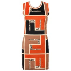 FENDI Mare c.1990's Color-block Zucca FF Monogram Knit Sleeveless Shift Dress