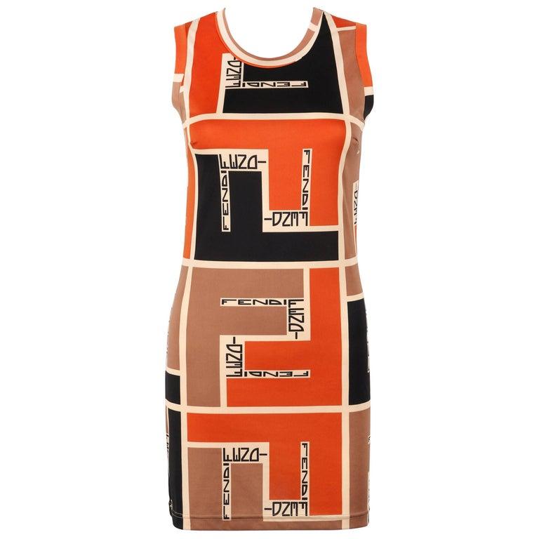 FENDI Mare c.1990's Color-block Zucca FF Monogram Knit Sleeveless Shift Dress
