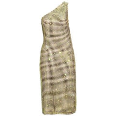 Tom Ford for Gucci SS 2000 Runway Fully Crystal Embellished One Shoulder Dress