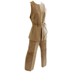 Loewe Madrid Camel Suede Leather Vest Pant and Belt Suit Set
