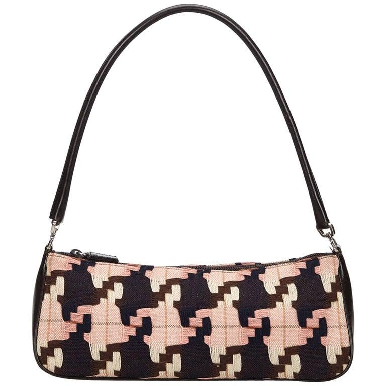 Prada Pink Printed Wool Handbag