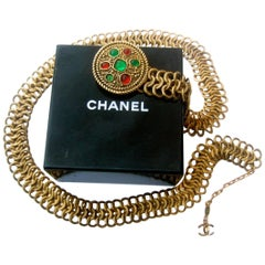 Chanel Jeweled Poured Glass Gilt Metal Belt, circa 1980s