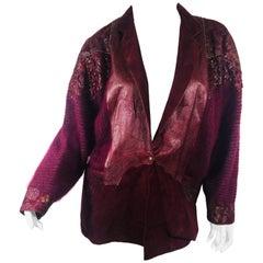 Vintage Roberto Cavalli Leather Jacket with Knit Sleeves