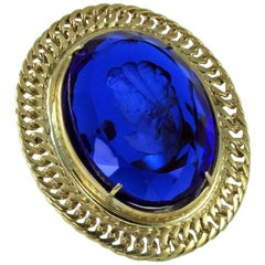 Bronze and Murano glass fashion oval ring by Patrizia Daliana