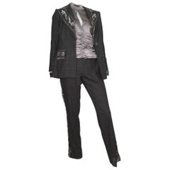 David Rodriguez Grey Beaded Pant Suit with Silk Blouse Size 8.
