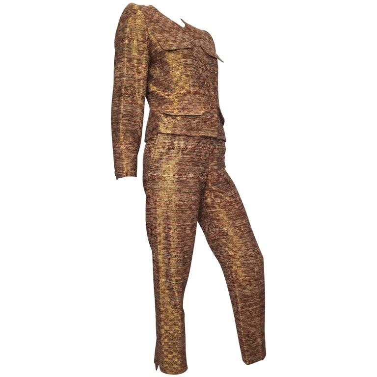 Yves Saint Laurent Rive Gauche 1980s Metallic Silk Jacket & Pant Suit Size 4.