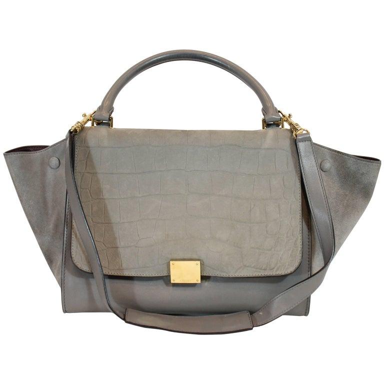 Celine Croc-Stamped Trapeze Bag