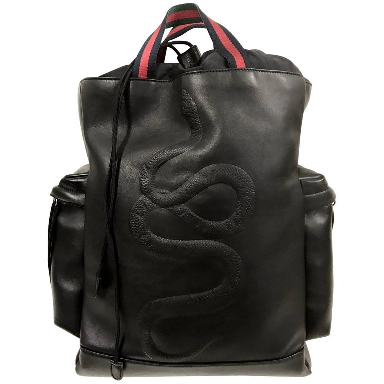 Gucci  Backpack Snake in Black Leather for men's 2017