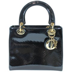 Lady Dior Black Patent leather Medium Bag
