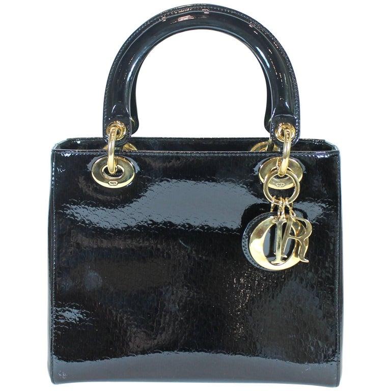 Lady Dior Black Patent leather Medium Bag