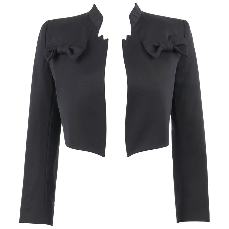 GIVENCHY Couture A/W 1996 JOHN GALLIANO Black Wool Bow Detail Cropped Jacket