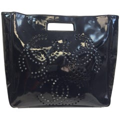 Chanel Large Black Patent Leather Perforated Tote