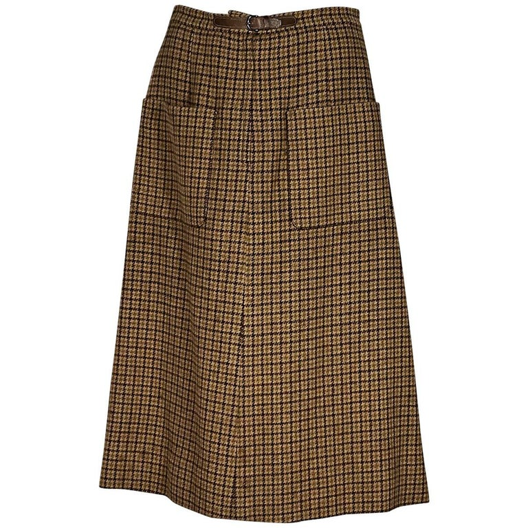 Tan Vintage Hermes Wool A-Line Skirt