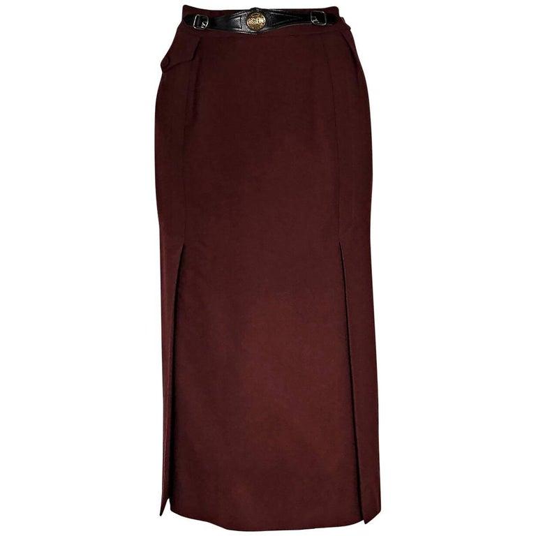 Burgundy Vintage Hermes Wool Skirt
