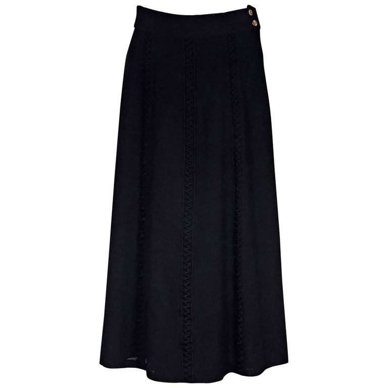 Black Chanel Wool Skirt