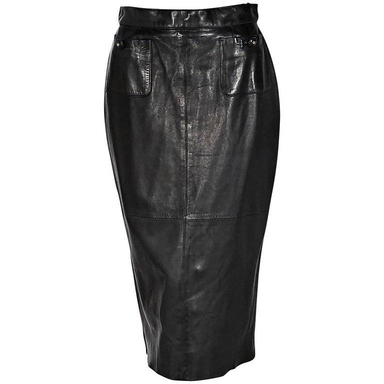 Black Chanel Leather Long Pencil Skirt