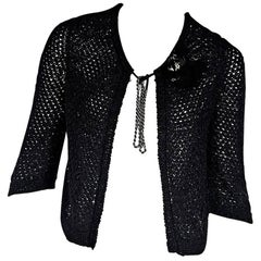 Black Chanel Floral-Accented Woven Cardigan