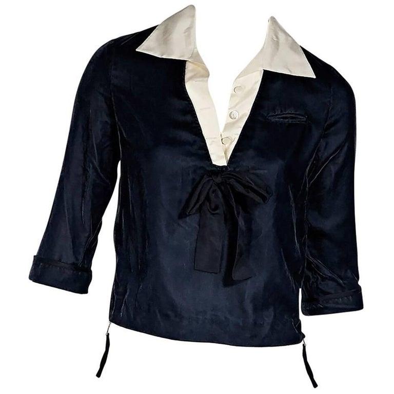 Blue Louis Vuitton Velvet Pullover Top