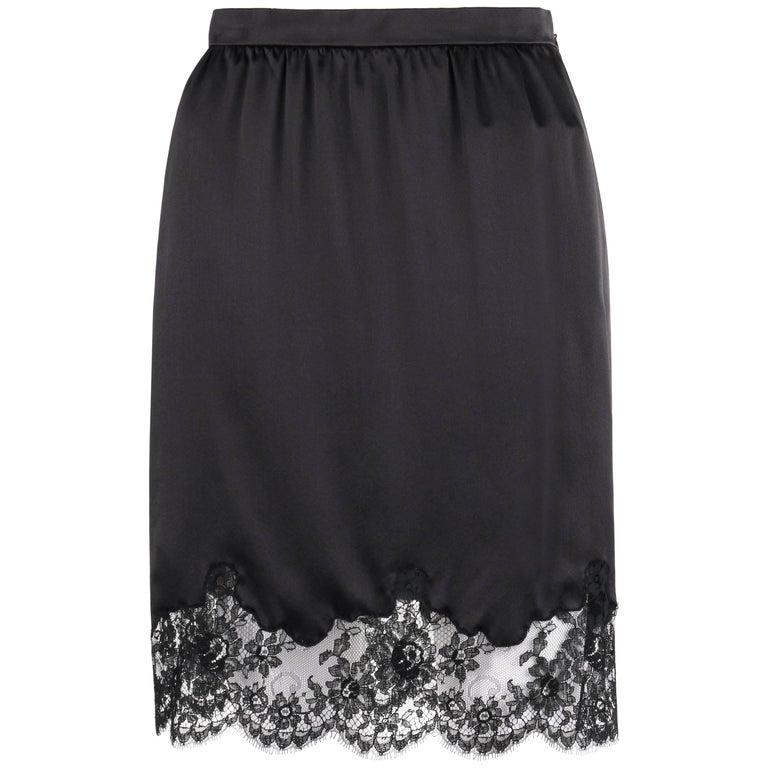 VALENTINO Roma c.1990's Black Silk Floral Lace Hem Classic Slip Skirt