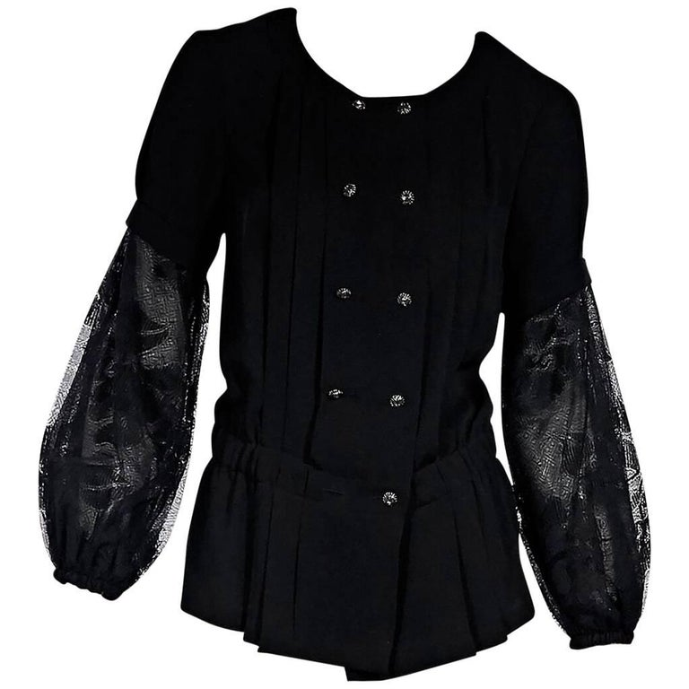 Chanel Pleated Black Silk Blouse