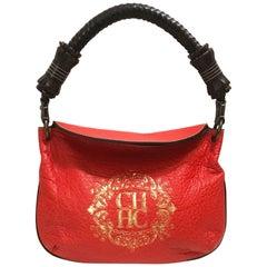 Carolina Herrera red hobo bag