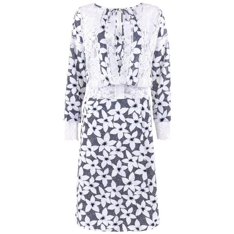 KOOS VAN DEN AKKER c.1980s 3Pc Floral Print Lace Blouse Skirt Dress Set