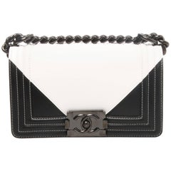 Chanel Black and White Geometric Lambskin Medium Boy Bag