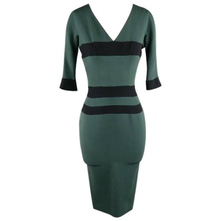 VICTORIA BECKHAM Size 0 Green Silk Wool Cocktail Dress