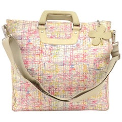 Chanel Multicolor Canvas XL 2 way Shoulder Tote Clover Bag