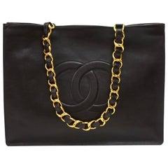 Chanel Vintage Jumbo XL Dark Brown Leather Shopping Tote Bag