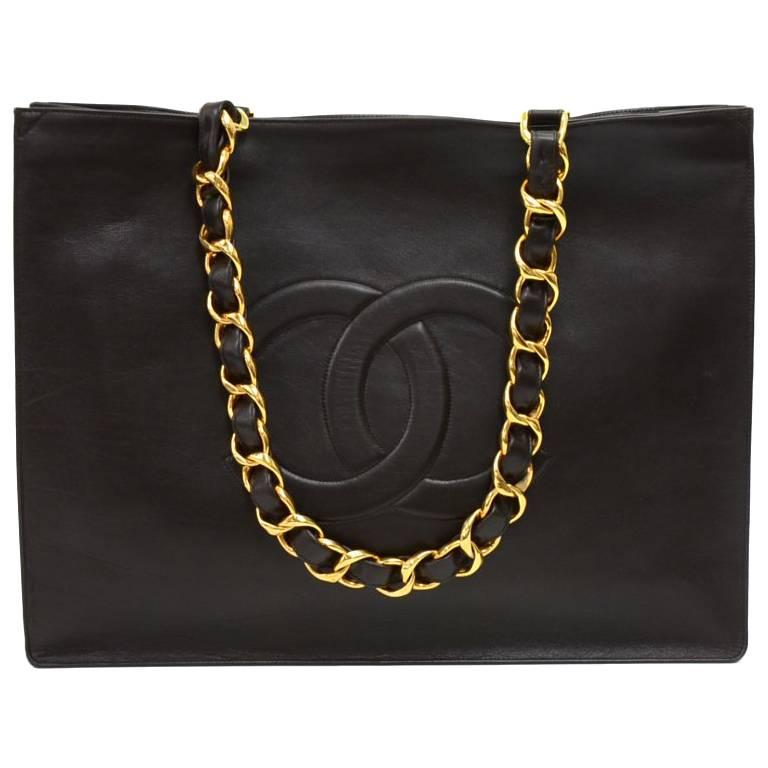 Chanel Vintage Jumbo XL Dark Brown Leather Shopping Tote Bag  For Sale