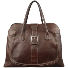 TOD'S Brown Leather Buckle Closure Oversized Weekender Travel Tote Handbag