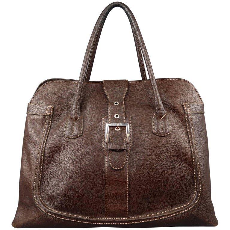 TOD'S Brown Leather Buckle Closure Oversized Weekender Travel Tote Handbag For Sale