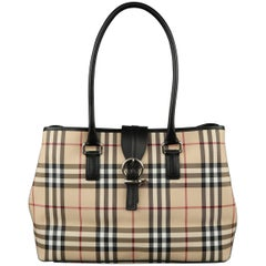 New BURBERRY Handbag - Beige Plaid Coated Canvas & Black Leather Bag Tote