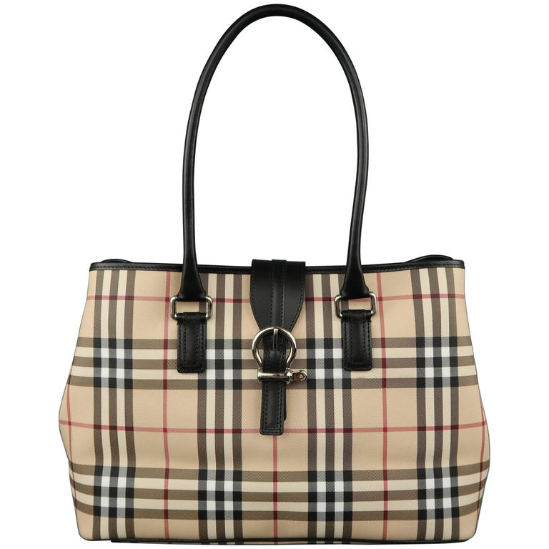 New BURBERRY Handbag - Beige Plaid Coated Canvas   Black Leather Bag Tote  For Sale 5ada0061271c4