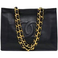 Chanel Vintage Jumbo XL Black Leather Shoulder Shopping Tote Bag