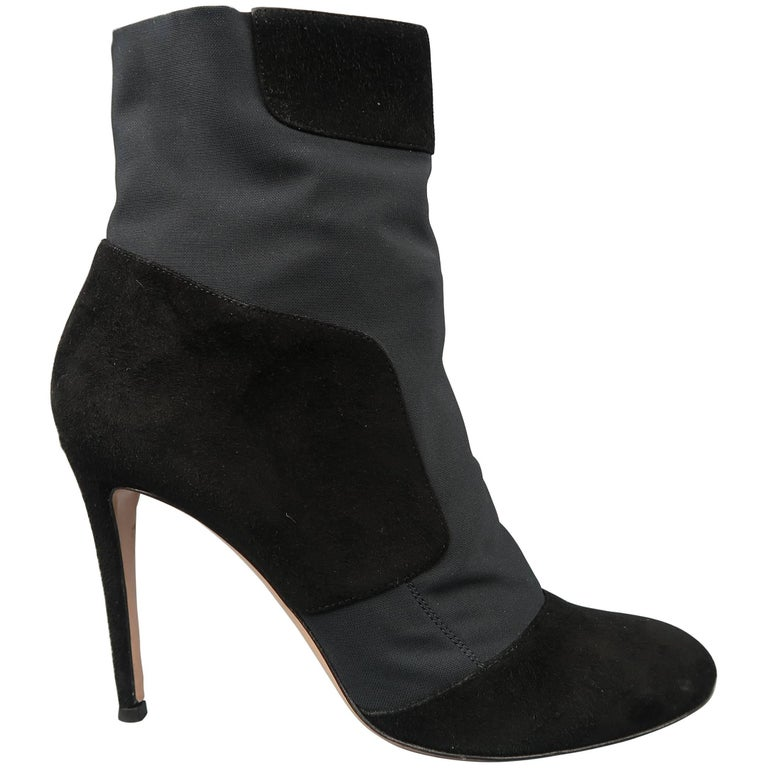 GIANVITO ROSSI Size 10.5 Black Suede Nylon Pull On Stretch Ankle Boots
