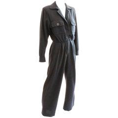 Yves Saint Laurent YSL Rive Gauche Gray Wool Patch Pocket Jumpsuit, 1990s