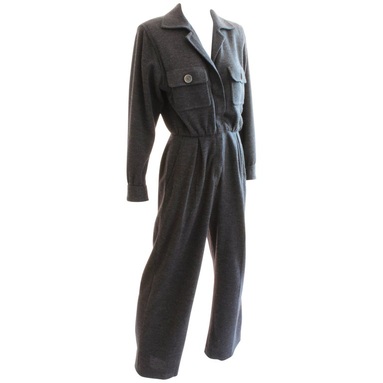 Yves Saint Laurent YSL Rive Gauche Gray Wool Patch Pocket Jumpsuit, 1990s  For Sale