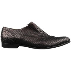 LANVIN Size 12 Black SNake Skin Pointed Screw Oxford Flats
