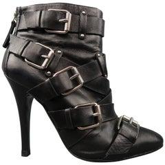 BALMAIN x GIUSEPPE ZANOTTI Size 8 Black Leather Belt Buckle Ankle Boots