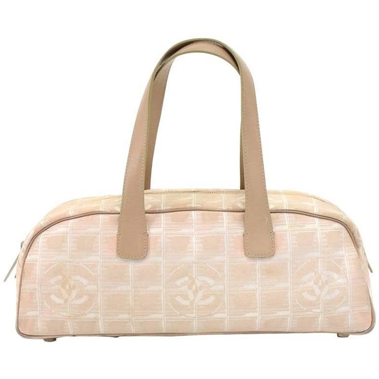 Chanel Travel Line Beige Jacquard Nylon Mini Boston Bag