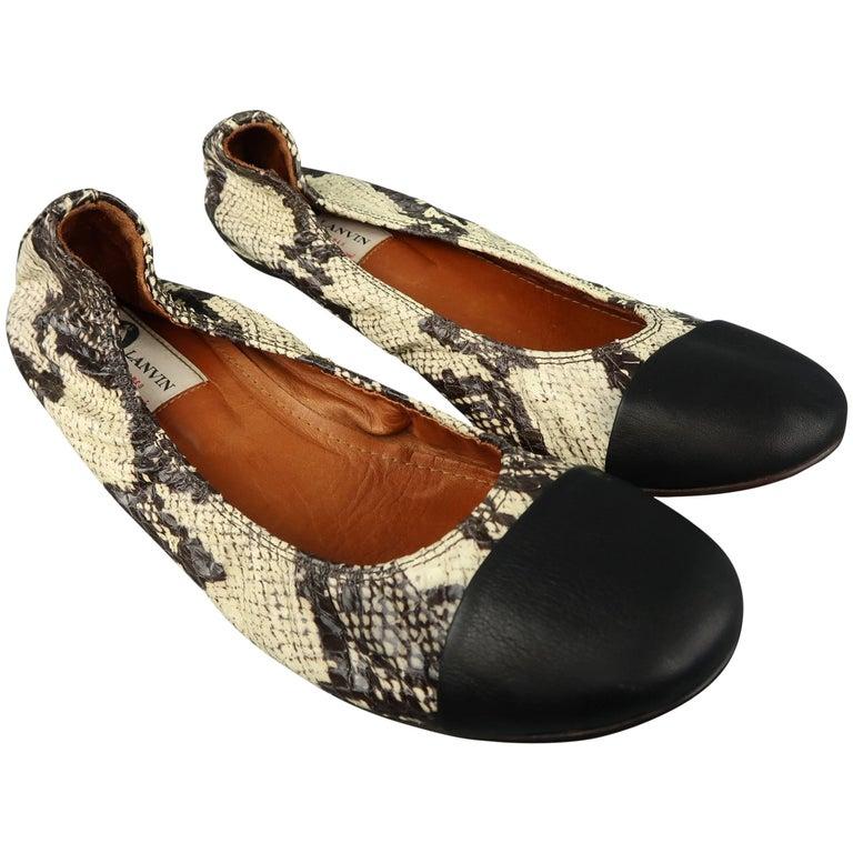 LANVIN Flats Size 10.5 Beige & Black Snake Skin Cap Toe Ballet Shoes