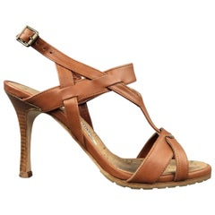 MANOLO BLAHNIK 5.5 Tan Leather Strappy Harness Cork Sole Heels Sandals