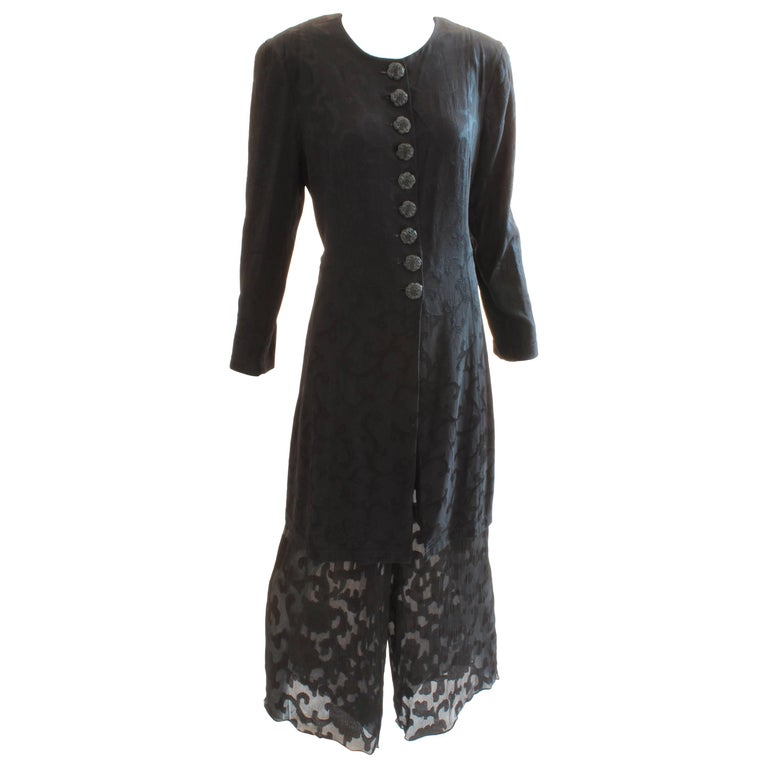 Donna Karan Black Label Silk Brocade Jacket and Sheer Pants Set, 1990s