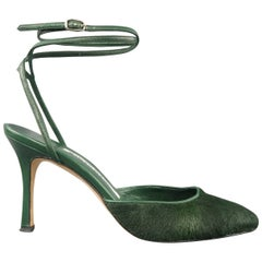 MANOLO BLAHNIK Pumps Heels Size 5.5  - Green Ponyhair & Leather Ankle Strap